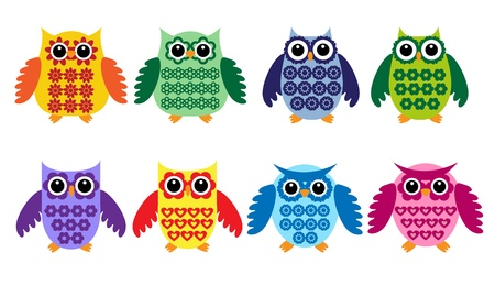 Colorful owls.Vector set Vector