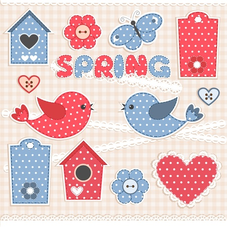 Spring.Vector scrapbook elements