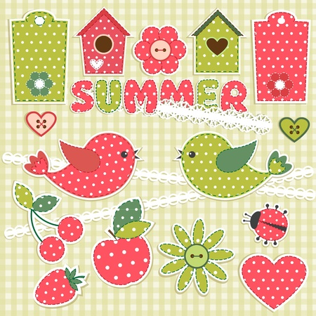 patchwork: Summer.Vector scrapbook elements Illustration