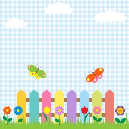 zomertuin: Kleurrijke hek met bloemen en vlinders Stock Illustratie