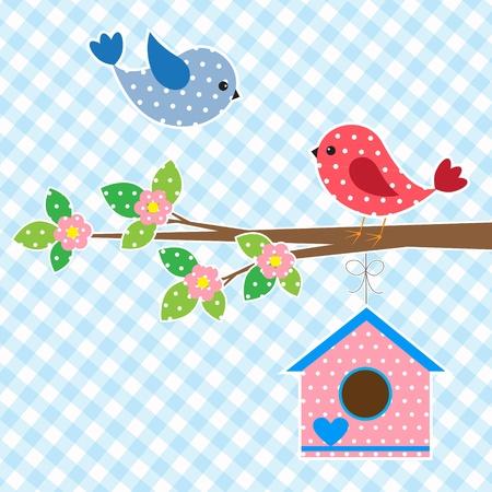 birds in tree: Coppia di uccelli e card design birdhouse.Vector Vettoriali