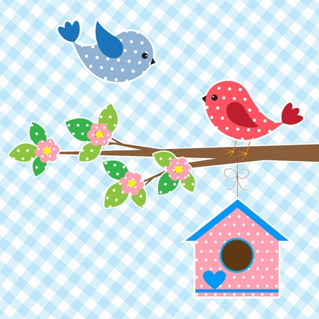 Couple of birds and birdhouse.Vector card design Vector
