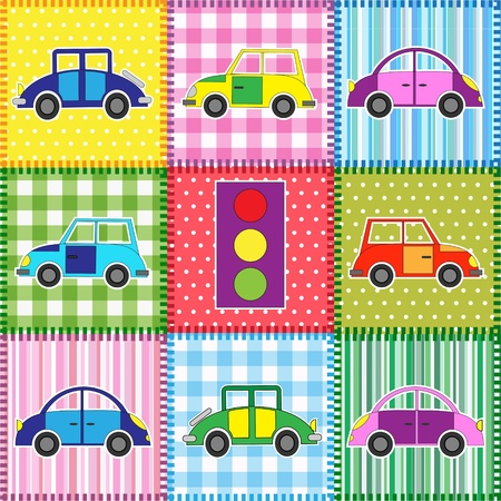 Patchwork with cartoon cars.Babies background Vector