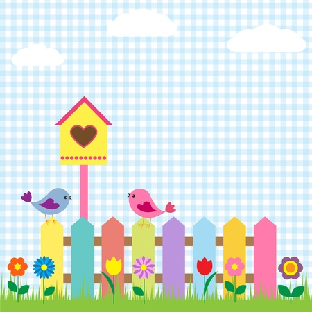 kids garden: Background with birds and birdhouse