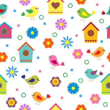 nestling birds: Colorful seamless pattern with birds and birdhouses Illustration