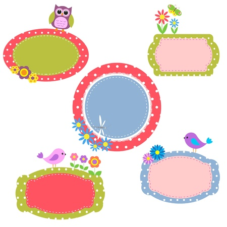 Cute frames with flowers and birds.Vector collection Vector