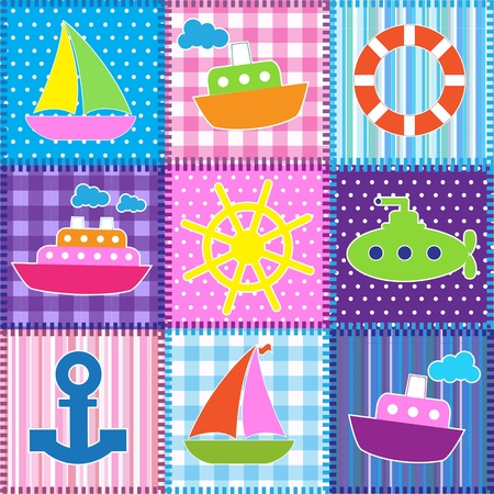 Patchwork in marine style.Seamless baby background Vector