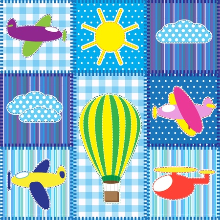 Patchwork with colorful aircraft.Seamless baby background Vector