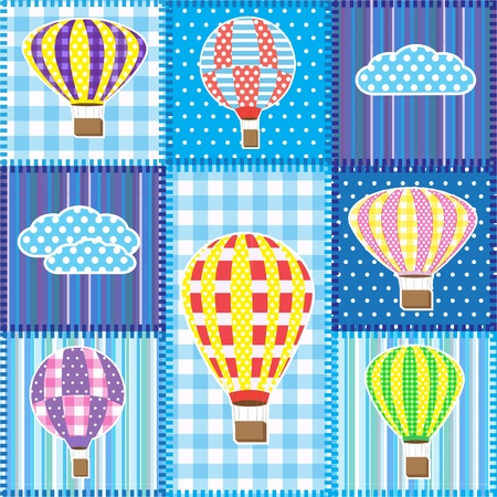 Patchwork with colorful hot air balloons.Seamless baby background Vector