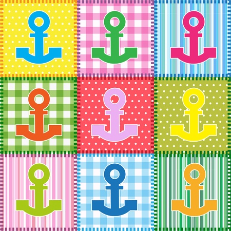 Patchwork  with colorful anchors.Seamless baby background Vector