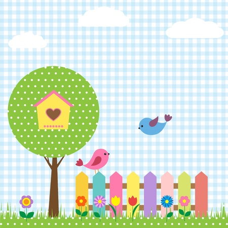 flower boxes: Background with birds and birdhouse