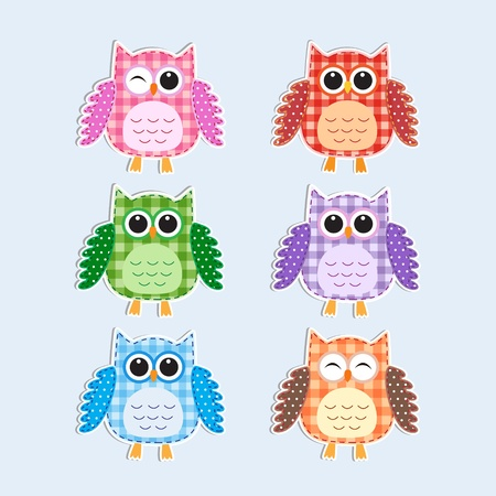 Colorful owls.Vector textile stickers Vector