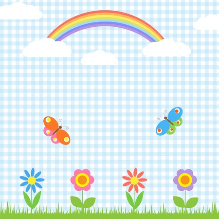 patchwork landscape: Background with flowers,butterflies and rainbow Illustration