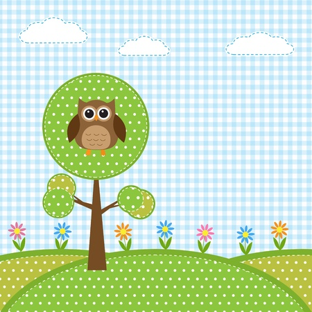 patchwork landscape: Owl on tree and flowers