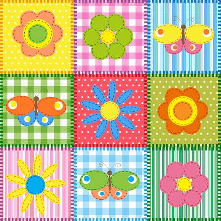 manta de retalhos: Patchwork with butterflies and flowers. Baby seamless background