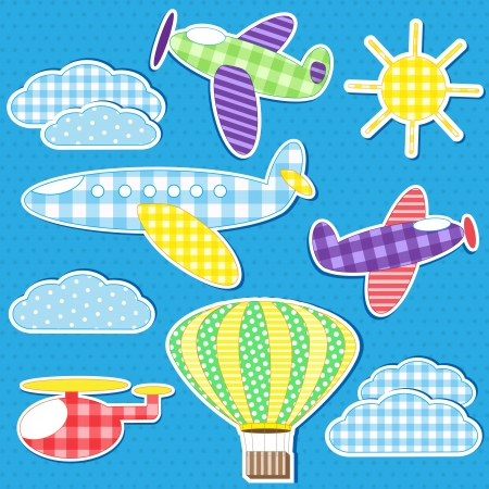 Air transport. Vector set of textile stickers Vector
