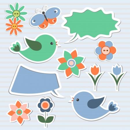 Bubbles speech, birds,flowers,butterfly.Vector set of design elements Vector