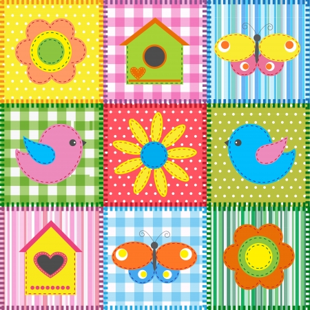 Patchwork with birds and birdhouses. Baby seamless background Vector