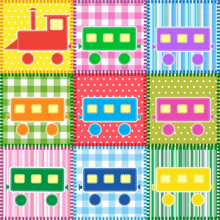 Patchwork with colorful train. Baby seamless background  Vector