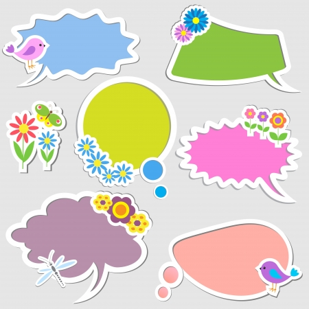 Speech bubbles with birds and flowers. Vector set Illustration