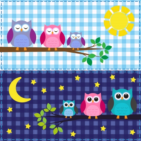 Family of owls in the daytime and nighttime
