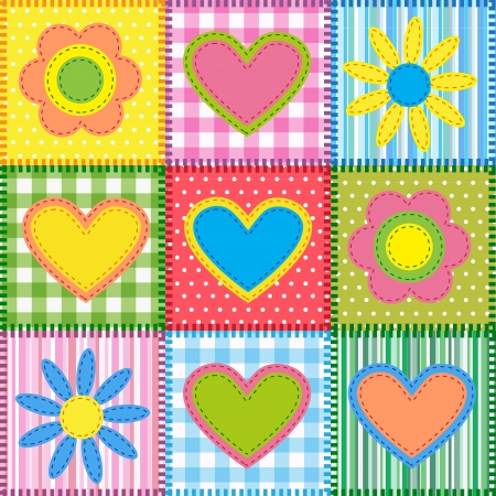 Patchwork with hearts and flowers.   Vector