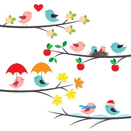 Seasonal branches and birds Ilustração