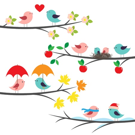 apple blossom: Seasonal branches and birds Illustration