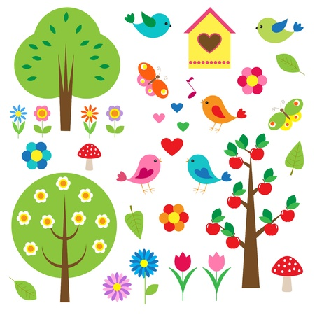 Birds and trees.  Vector