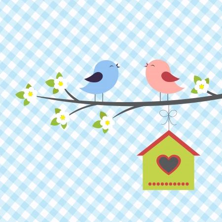 aves caricatura: Los pájaros cantan en primavera.