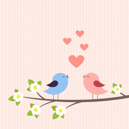 Couple of birds in love. Vector