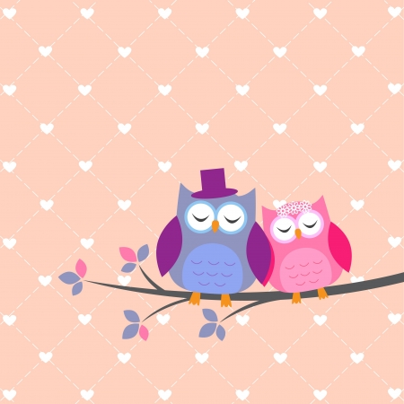 love birds: Couple owls in love Illustration