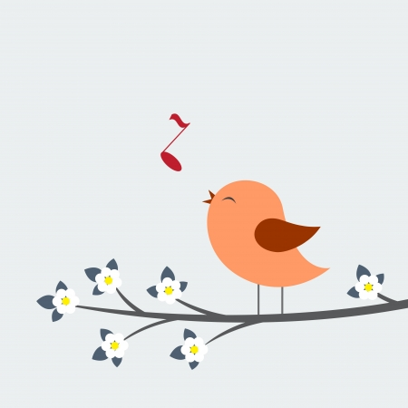 song bird: Cute bird sings. Spring card