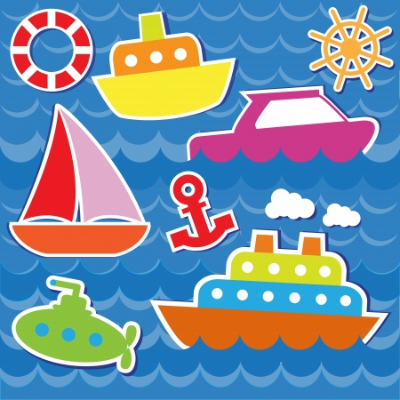 Marine transport stickers.  Vector