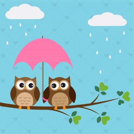 Owls couple under umbrella. Ilustração