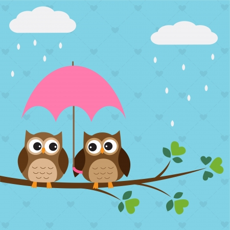 rain cartoon: Owls couple under umbrella. Illustration