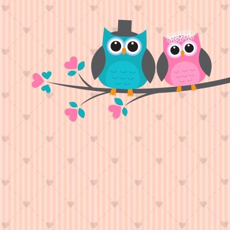 귀여움: 사랑에 두 귀여운 올빼미. 벡터 웨딩 카드 일러스트