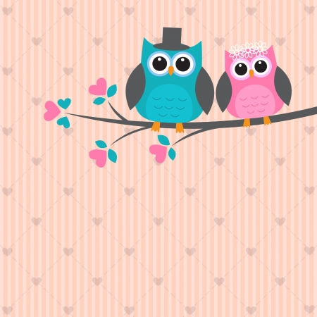 Two cute owls in love. Vector wedding card