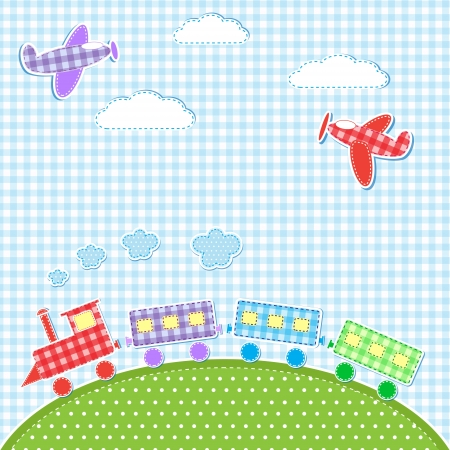 Baby background with aircrafts and train textile stikers Vector