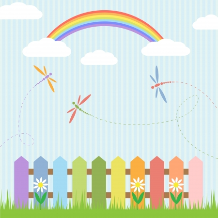 Colorful dragonflies with rainbow illustration Vector