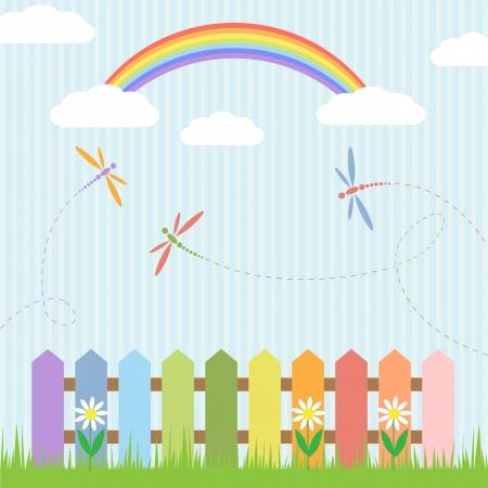 flower nursery: Colorful dragonflies with rainbow illustration Illustration