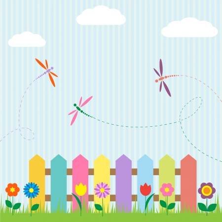 patchwork landscape: Colorful fence with flowers and dragonflies