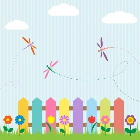 inbjudan: Colorful staket med blommor och trollsländor
