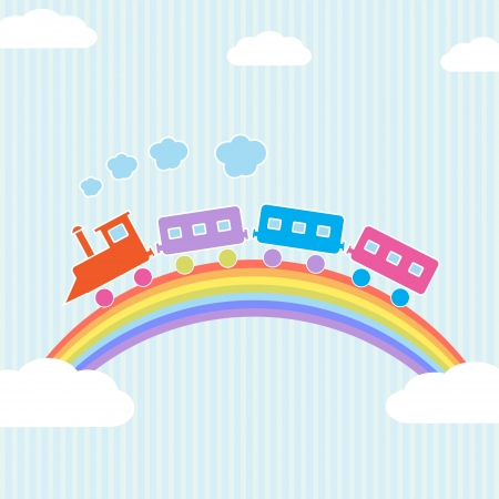 Colorful train on rainbow illustration Vector