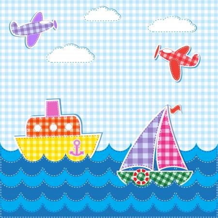 Baby achtergrond met vliegtuigen en schepen. Vector textiel stickers