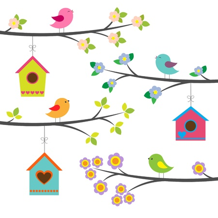 Birds and birdhouses. Vector set Vector