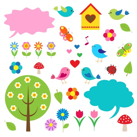 birdhouse: Birds,trees and bubbles for speech. Vector set