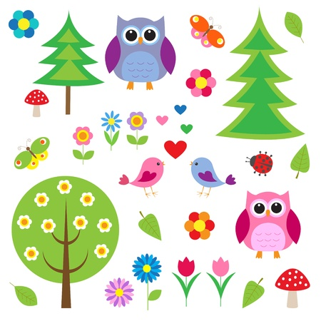 Birds,tress and owls. Vector set