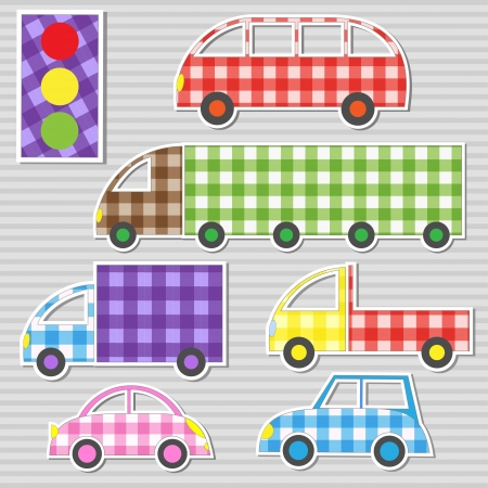 patchwork: Vector set of transport textile stickers
