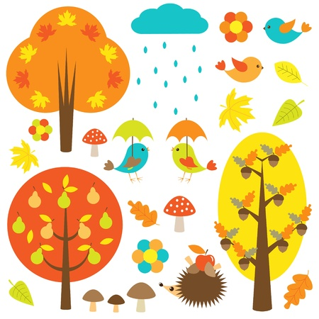 Birds and trees in autumn. Vector